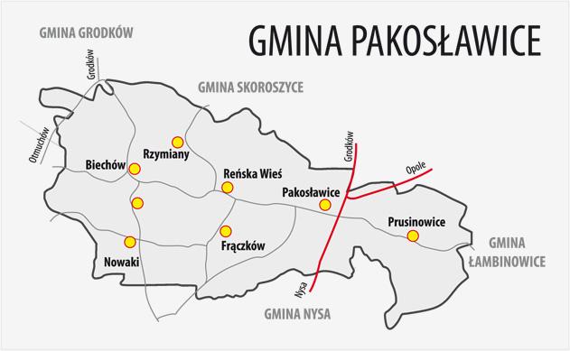 Mapa Gminy Pakosławice