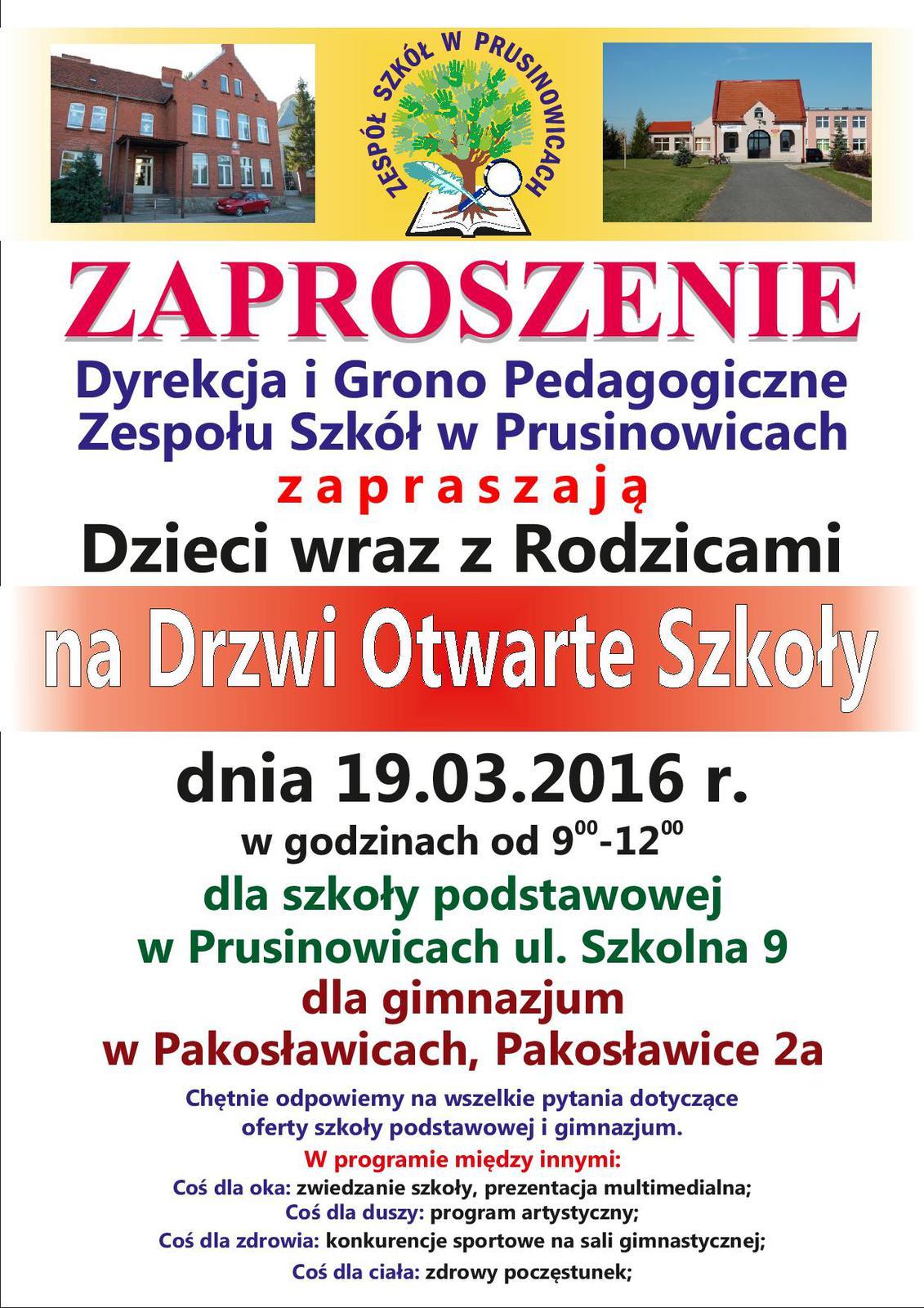 Zespół Szkół W Prusinowicach Zaprasza Na Dni Otwarte Urząd Gminy